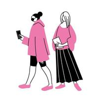 giovani donne che utilizzano smartphone e tablet vettore