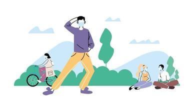 giovani che fanno attività fisica all'aperto al parco, stile di vita sano e fitness vettore