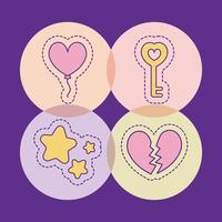 stelle chiave palloncino e disegno vettoriale cuore spezzato