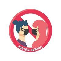 evitare incontri sociali, coppia con maschere mediche evitando la folla vettore