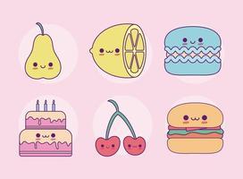 kawaii food set cartoni animati disegno vettoriale