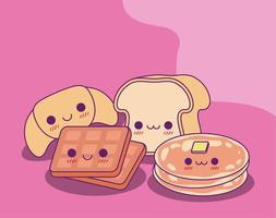 kawaii bread waffle e pancake disegno vettoriale
