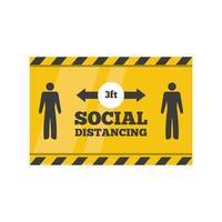 segnale di avvertimento, mantenere una distanza di sicurezza di 3 piedi, rischio di infezione da coronavirus vettore