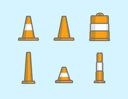 Coni stradali arancioni vettore