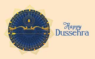 arco d'oro con freccia davanti al mandala blu ornamento di felice disegno vettoriale dussehra