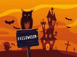 fumetto del gufo di Halloween sulla bandiera di legno davanti al disegno di vettore del castello