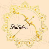 arco d'oro con freccia davanti al mandala ornamento di felice disegno vettoriale dussehra