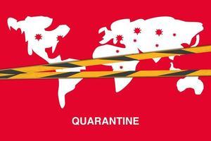 fermare l'epidemia di coronavirus o covid 19, banner di quarantena con mappa del mondo vettore