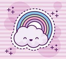 simpatico arcobaleno con nuvole in stile kawaii vettore