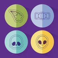 teschio di caramelle stelle e disegno vettoriale alieno