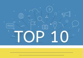 Top 10 piatto vettoriale