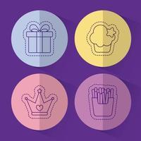 regalo muffin corona e patatine fritte disegno vettoriale