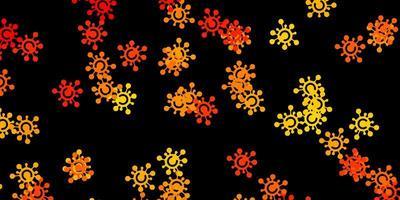 sfondo vettoriale arancione scuro con simboli covid-19.