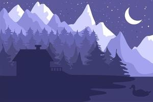 casa forestale nella foresta di conifere di notte vettore