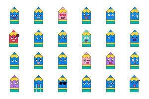 set di emoticon sentimenti di matita