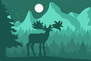 alci nella foresta di conifere di notte vicino alle montagne vettore