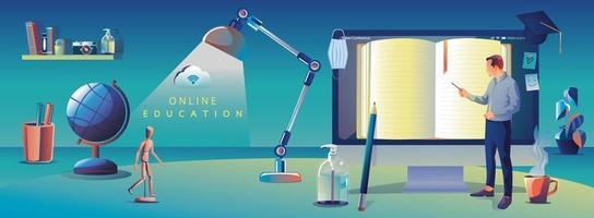 applicazione di istruzione online che apprende in tutto il mondo sul computer, sullo sfondo del sito Web mobile. concetto di distanza sociale con libri, lezioni, matita. il corso di formazione in aula, illustrazione vettoriale libreria piatta