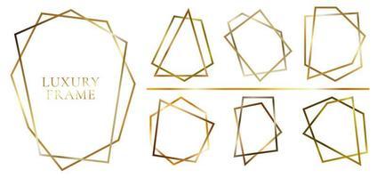 set di forme poligonali dorate lucide moderne vettore