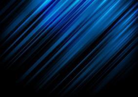 le linee diagonali astratte della banda blu si illuminano su fondo nero con spazio per il vostro testo
