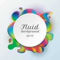etichetta cerchio bianco alla moda astratta su sfondo vibrante di forma fluida sfumata. vettore
