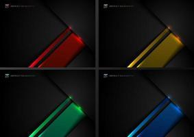 set di modello astratto nero e blu, rosso, verde e giallo sovrapposti geometrici con effetto ombra e illuminazione su stile tecnologico di sfondo scuro vettore