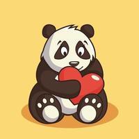 disegno animato di tenero panda orso san valentino vettore