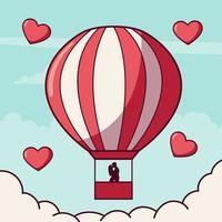 coppia innamorata in mongolfiera a San Valentino vettore