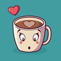 carta di amore di San Valentino del fumetto della tazza tenera vettore
