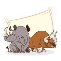 simpatici personaggi dei cartoni animati comici di rinoceronte e toro vettore