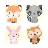 simpatici quattro animali personaggi dei cartoni animati comici vettore
