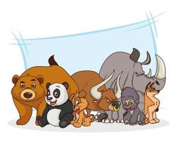 gruppo di sette animali personaggi dei cartoni animati comici vettore