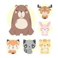 simpatici personaggi dei fumetti di sei animali vettore