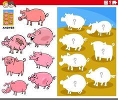 gioco di forme di abbinamento con personaggi di maiale dei cartoni animati vettore