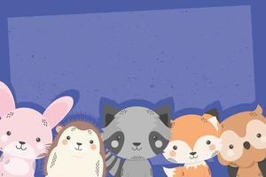 simpatici personaggi dei fumetti cinque animali vettore