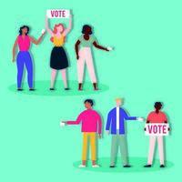 democrazia giorno delle elezioni con diversità persone e striscioni vettore