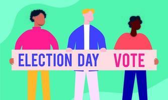 giorno delle elezioni con uomini interrazziali e banner vettore