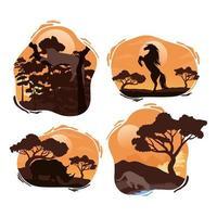 scene di sagome di quattro animali selvatici vettore