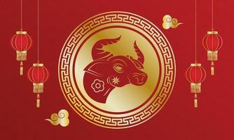 capodanno cinese della bandiera animale bue vettore