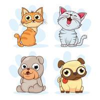 gruppo di gatti e cani animali domestici personaggi vettore