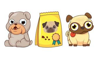 simpatici cani e borsa per il cibo vettore