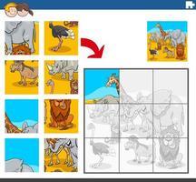 compito di puzzle con personaggi animali africani vettore