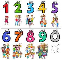 raccolta di numeri di cartoni animati educativi con i bambini vettore