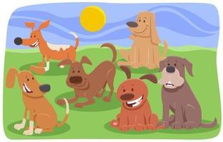 gruppo di personaggi dei cartoni animati di cani e cuccioli vettore