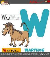 lettera w foglio di lavoro educativo con animale facocero vettore