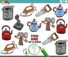 compito unico per bambini con oggetti comici vettore