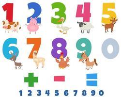 numeri educativi impostati con divertenti animali da fattoria vettore