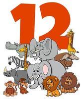 numero dodici per bambini con gruppo di animali dei cartoni animati vettore