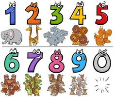 numeri di cartoni animati educativi con personaggi di animali selvatici vettore