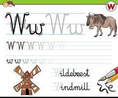 scrittura della lettera w foglio di lavoro per bambini vettore