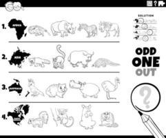 pagina del libro da colorare gioco di immagini di animali strani vettore